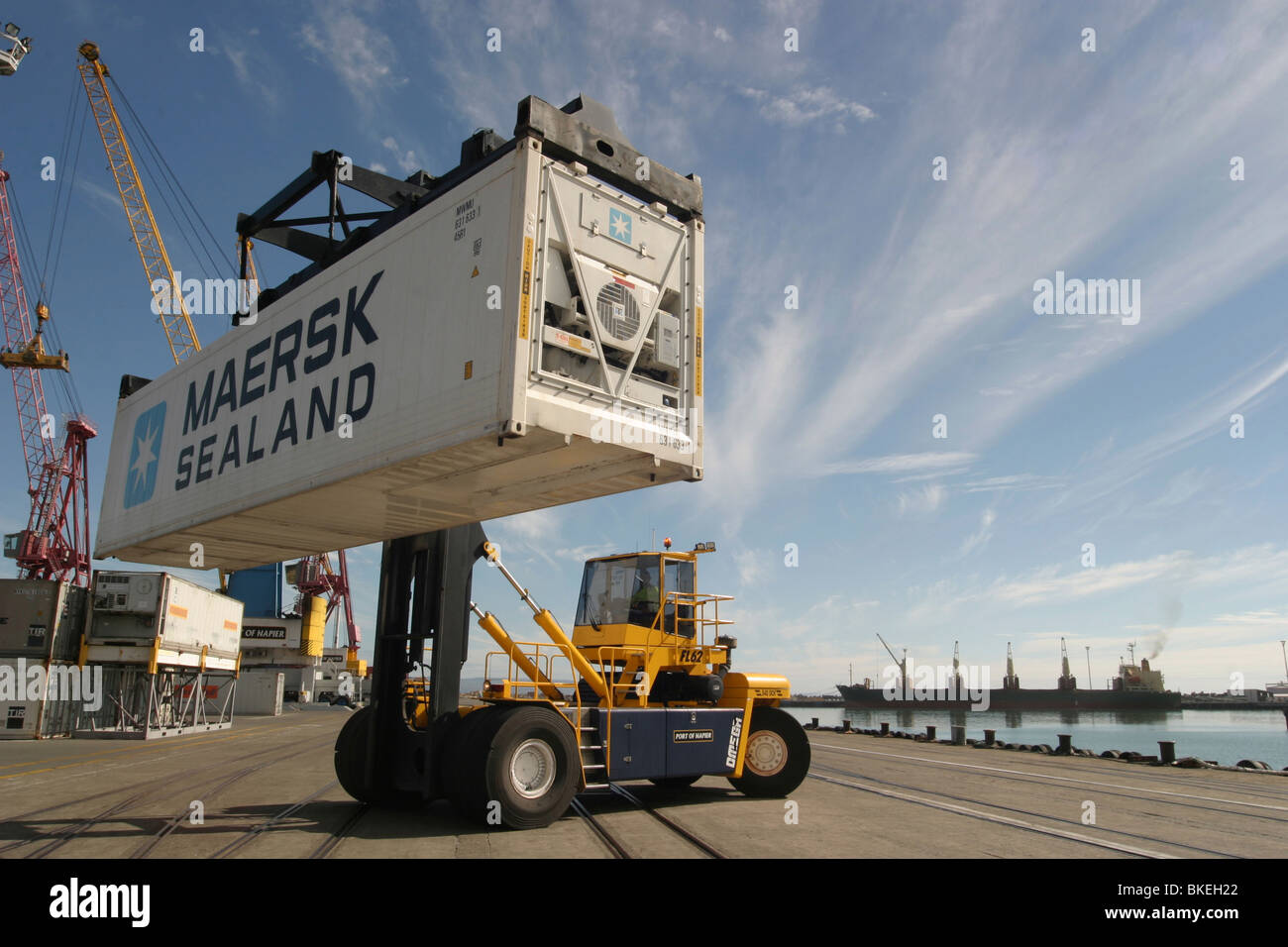 Giant forklift lifts moves Maersk container at Port of Napier new zealand - Stock Image