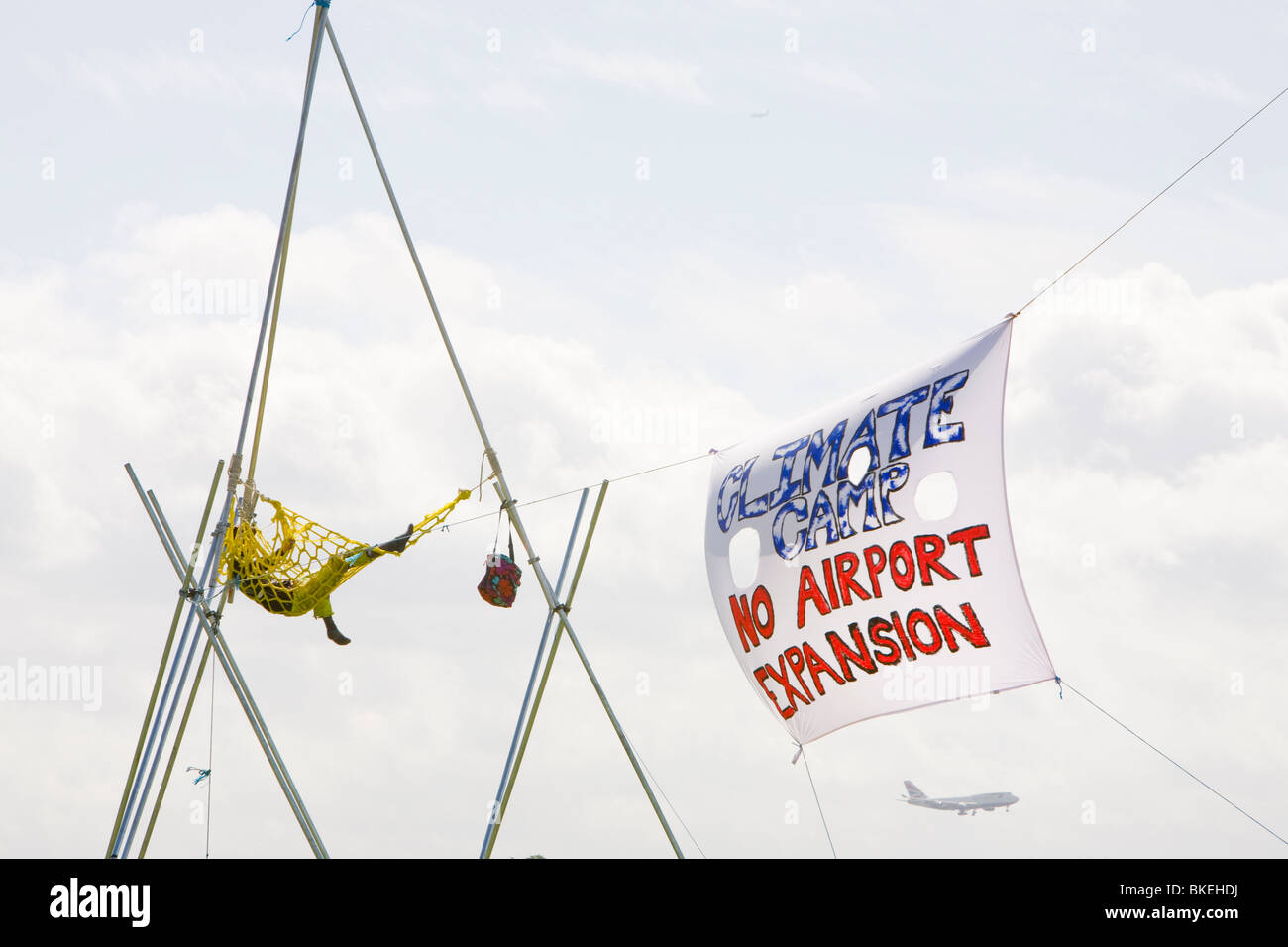 The Climate camp protest against airport development at Heathrow at Sipson that would be demolished for the third - Stock Image