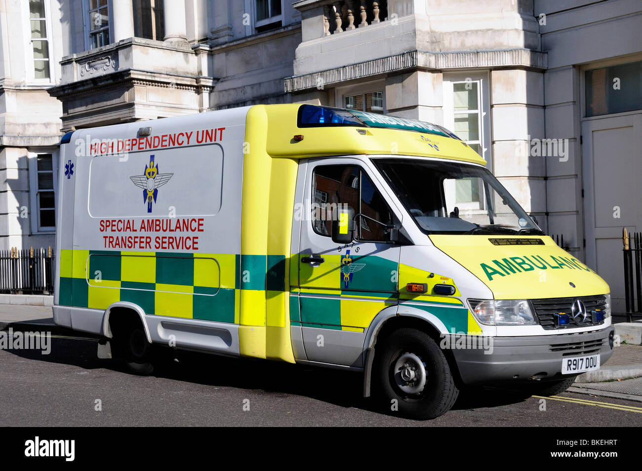 High dependency unit Special Ambulance Transfer Service outside The Heart Hospital London England UK - Stock Image