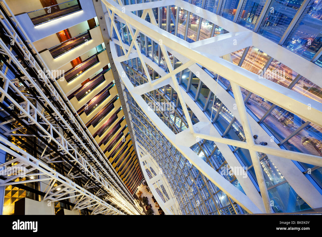 Modern architecture inside a luxury office and hotel building, Dubai, United Arab Emirates - Stock Image