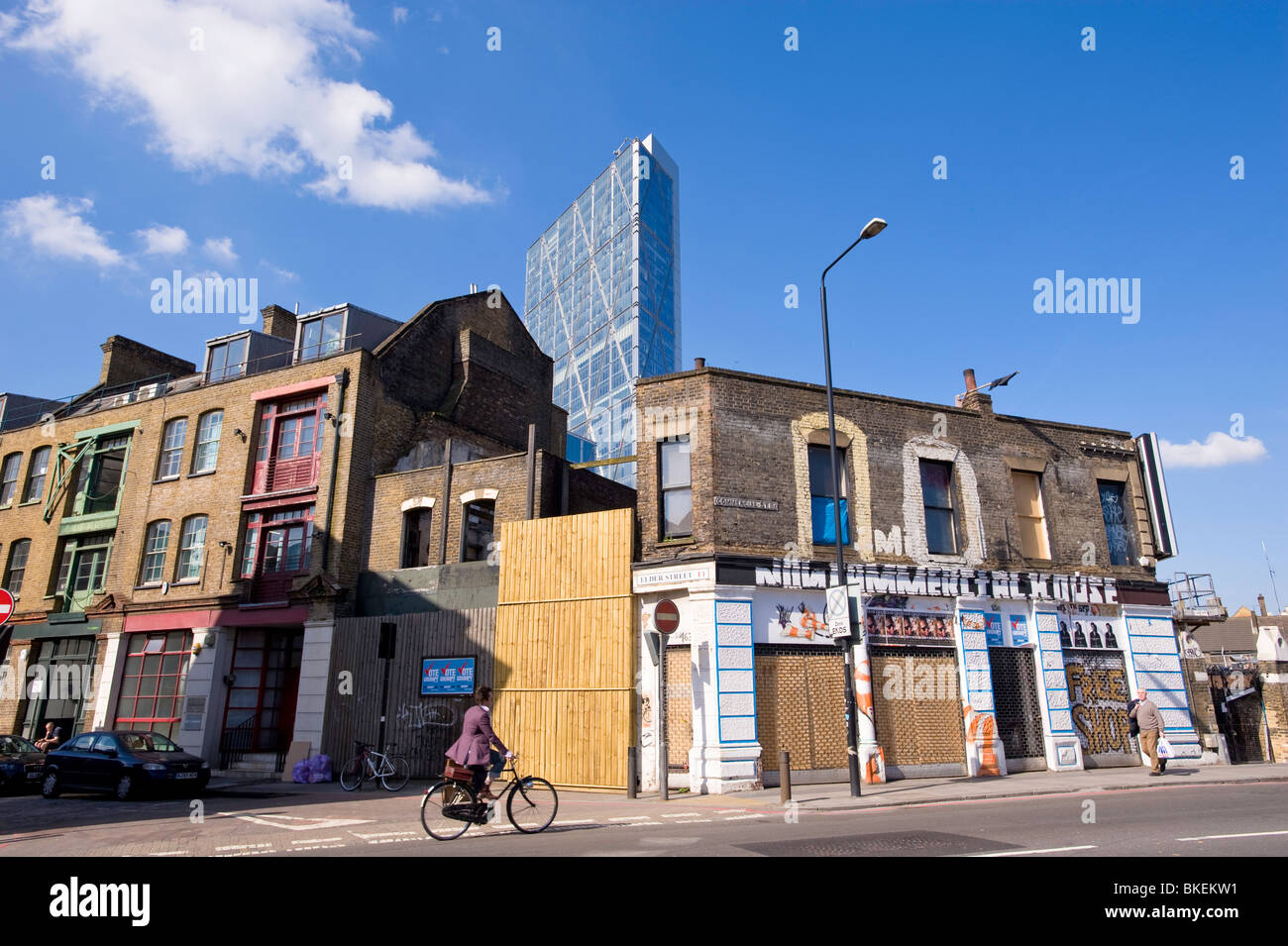 Old and new architecture on Commercial Street in East London, London, United Kingdom - Stock Image