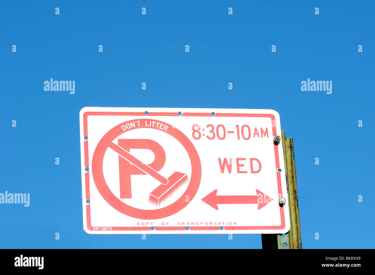 no parking sign used to restrict parking during street cleaning in nyc ny usa - Stock Image