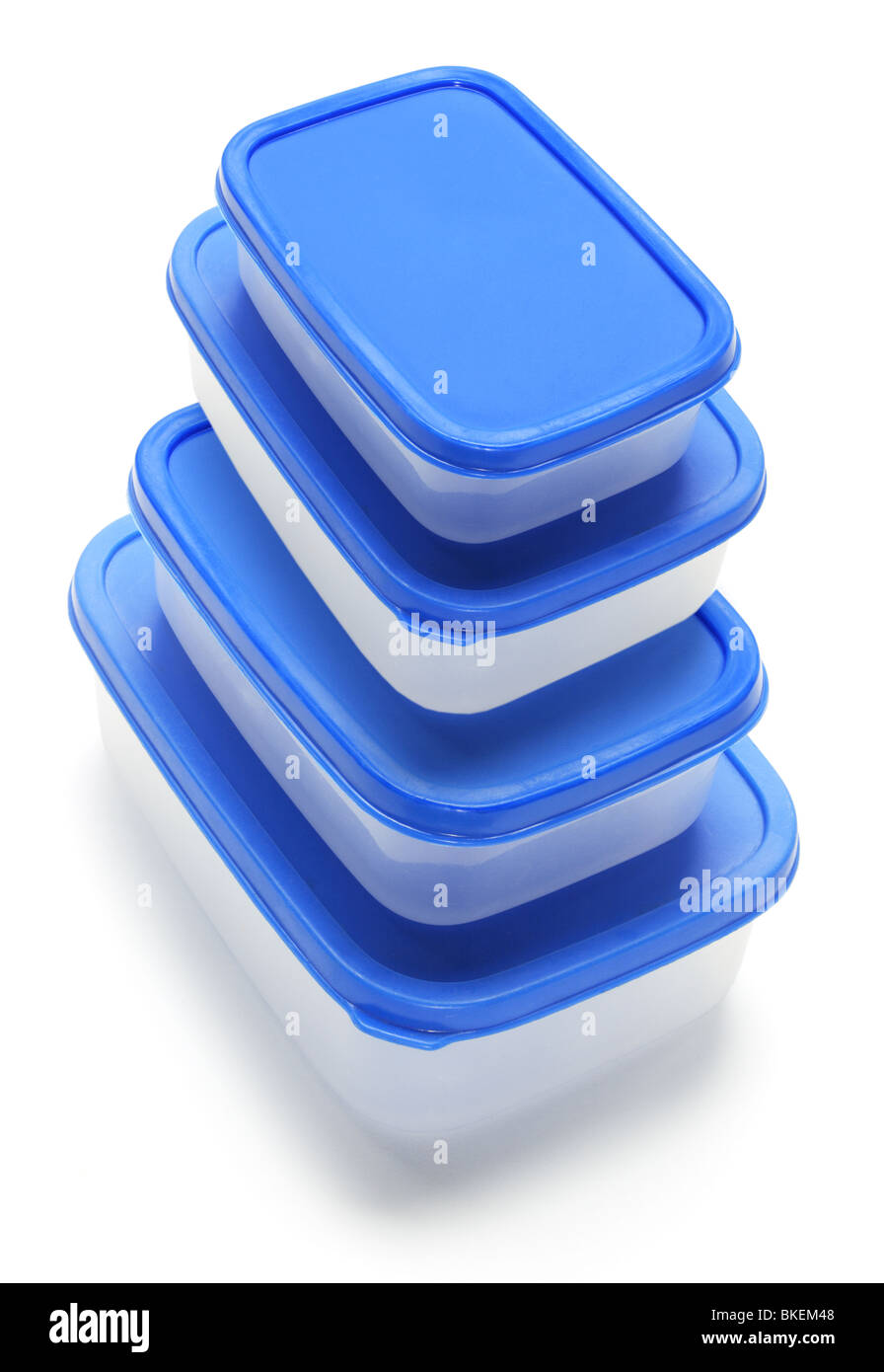 Stack of Plastic Containers - Stock Image