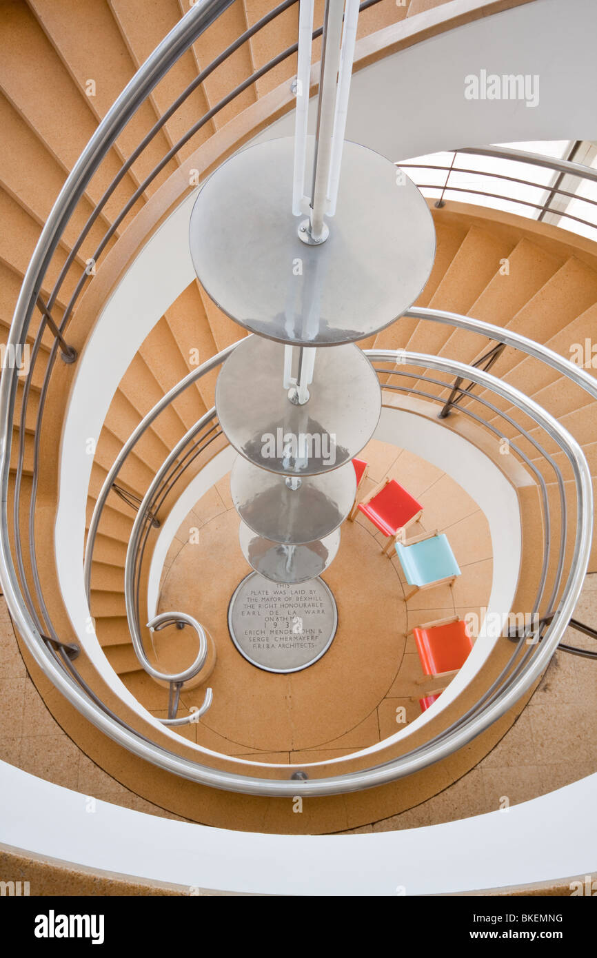 Spiral Staircase and Pendant Light in the De La Warr Pavilion Bexhill - Stock Image
