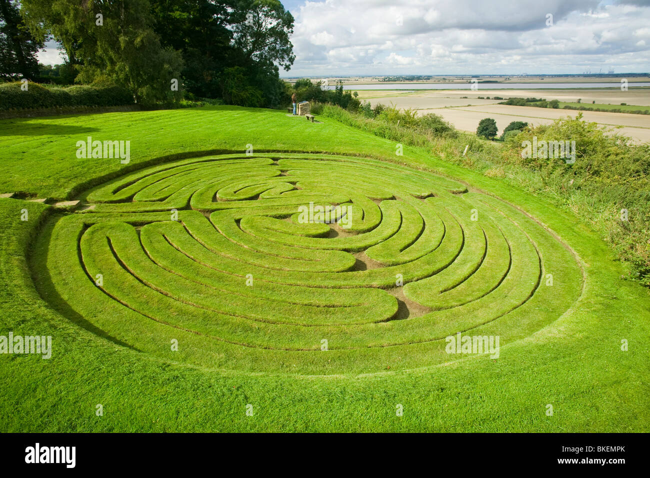 Julians Bower an ancient maze at Alkborough on the Humber Estuary. - Stock Image