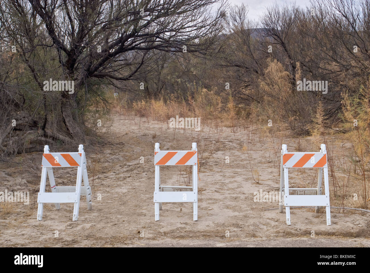 Road to Rio Grande river crossing and Santa Elena village in Mexico, blocked after 09/11, in Big Bend National Park, - Stock Image