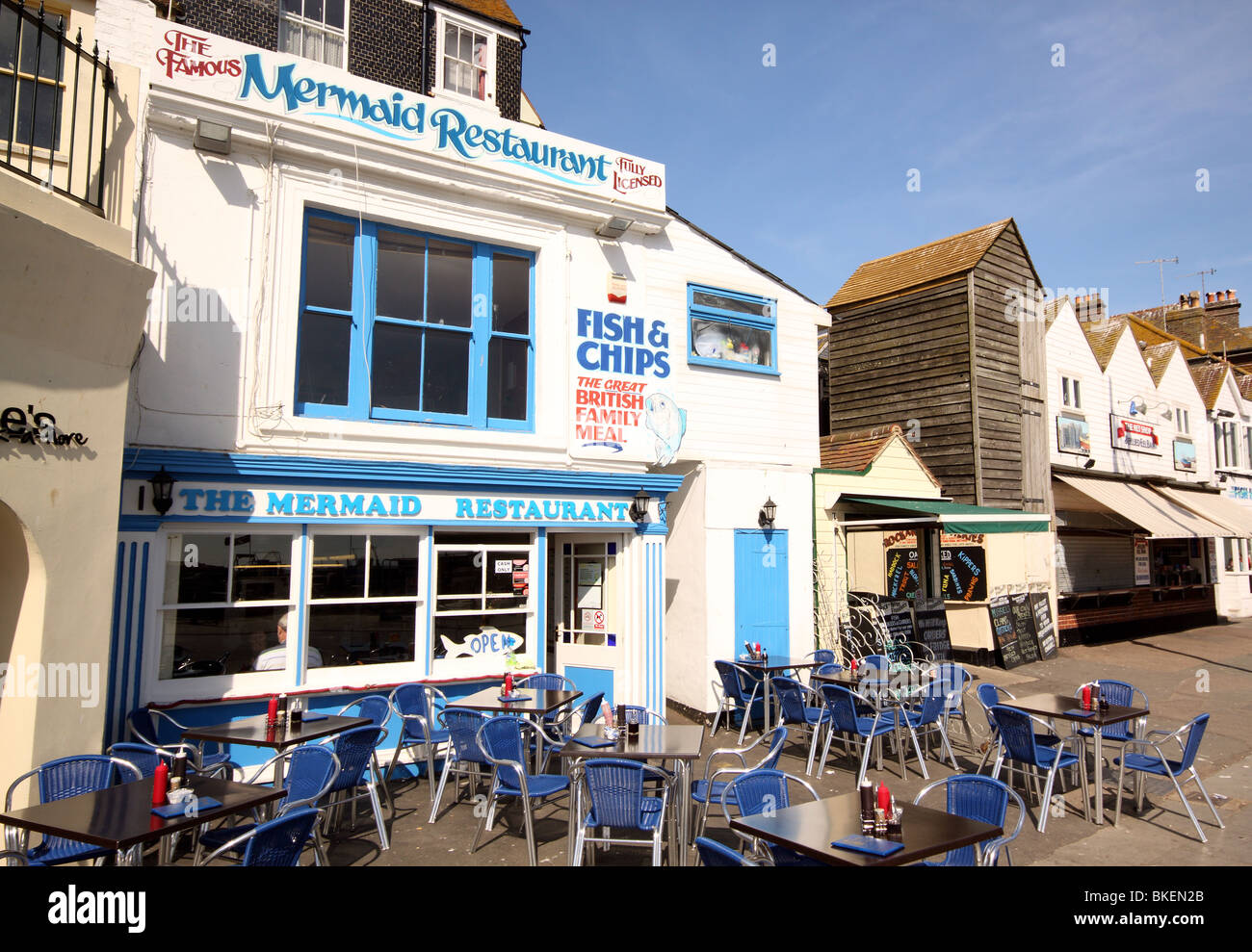 Mermaid Fish and Chip Shop Hastings Old Town - Stock Image