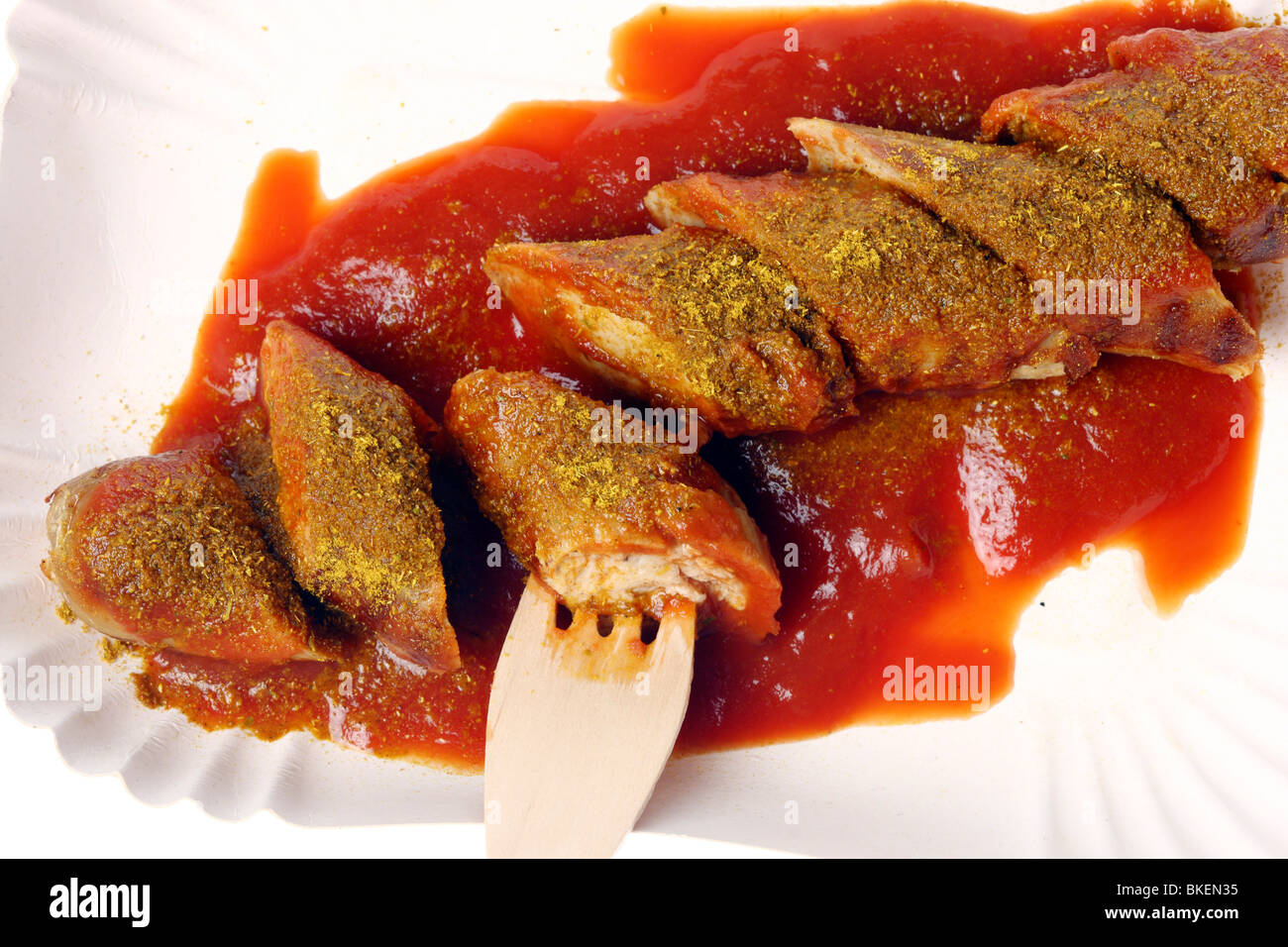 curry sausage, Germany, Europe. - Stock Image