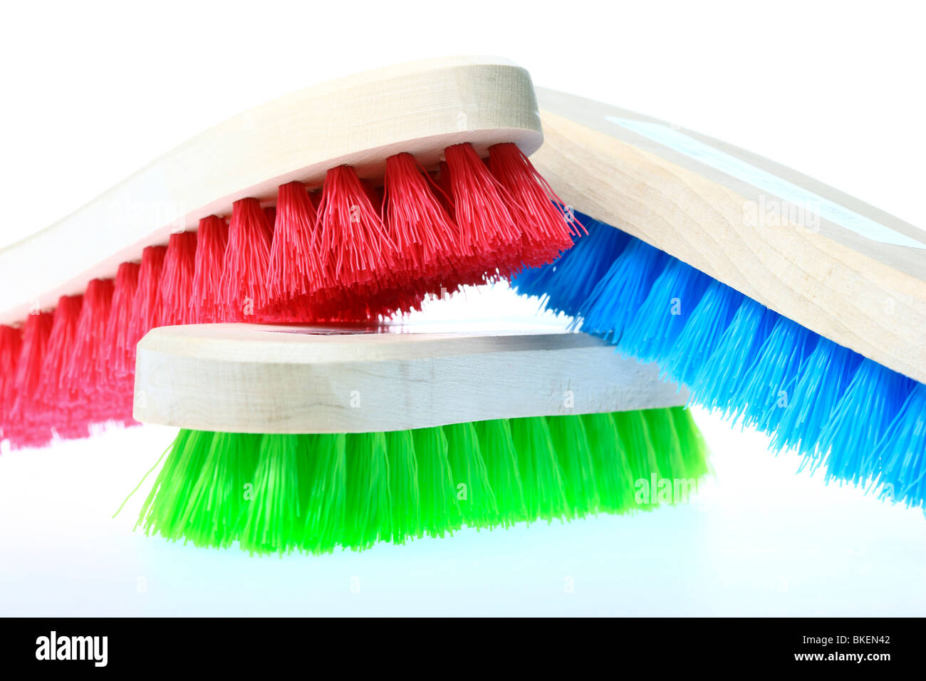 colorful scrubbing brushes, wooden, plastic hairs, Germany. Europe. - Stock Image
