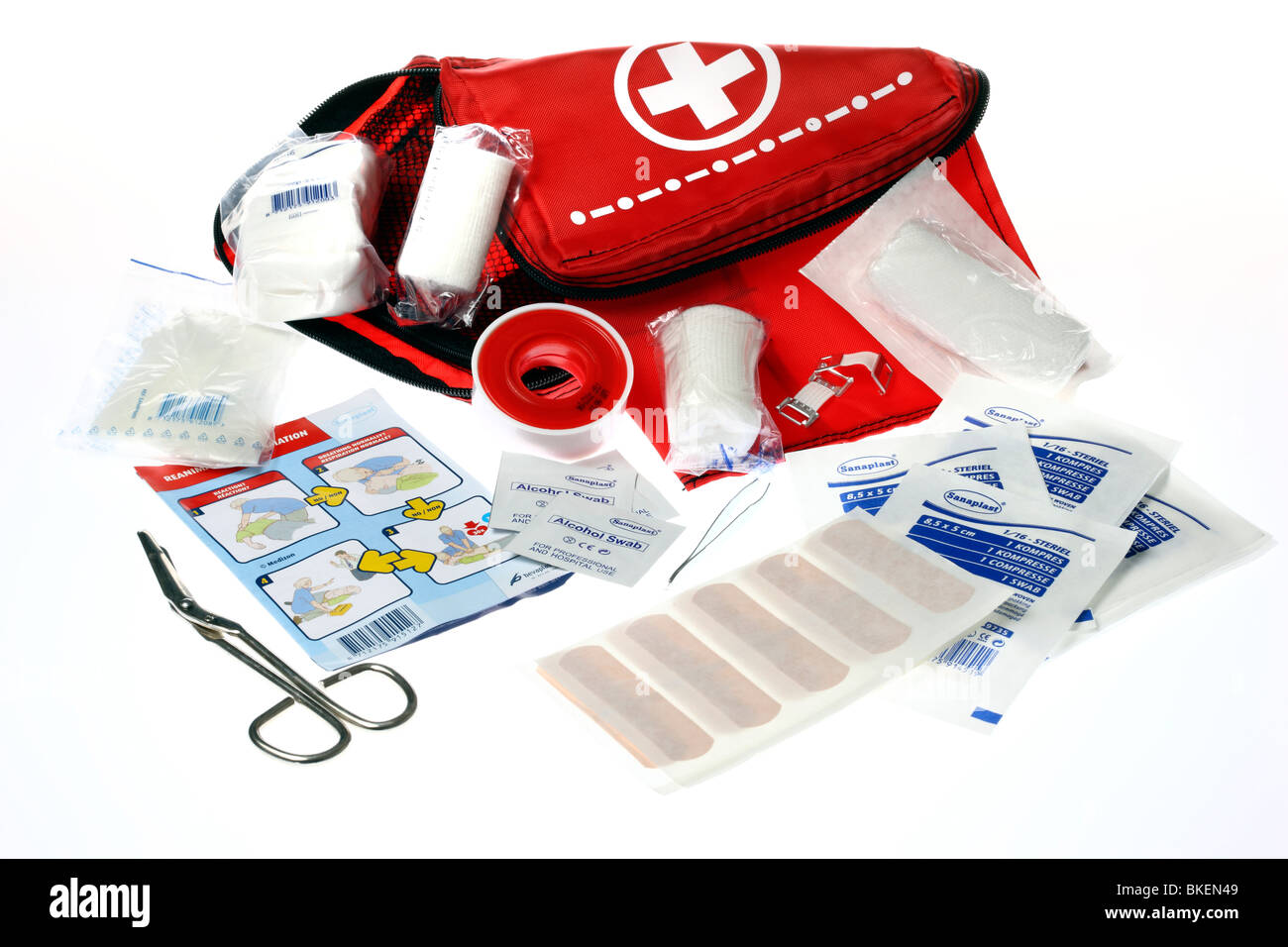 First aid box, for traveling. Medical help for outdoors. - Stock Image
