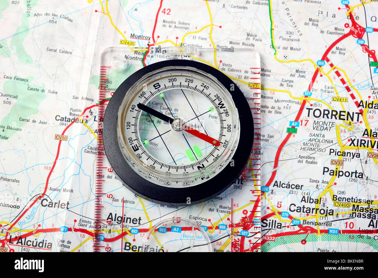 compass, lunatic compass, you can read over the cross hairs and the casing over the direction of march. - Stock Image