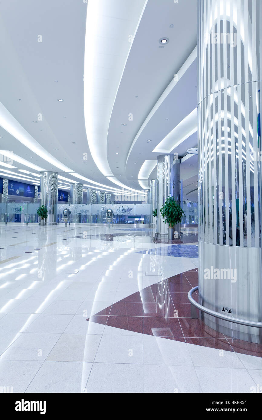 The modern Emirates Terminal 3, Dubai International Airport, Dubai, United Arab Emirates, UAE - Stock Image