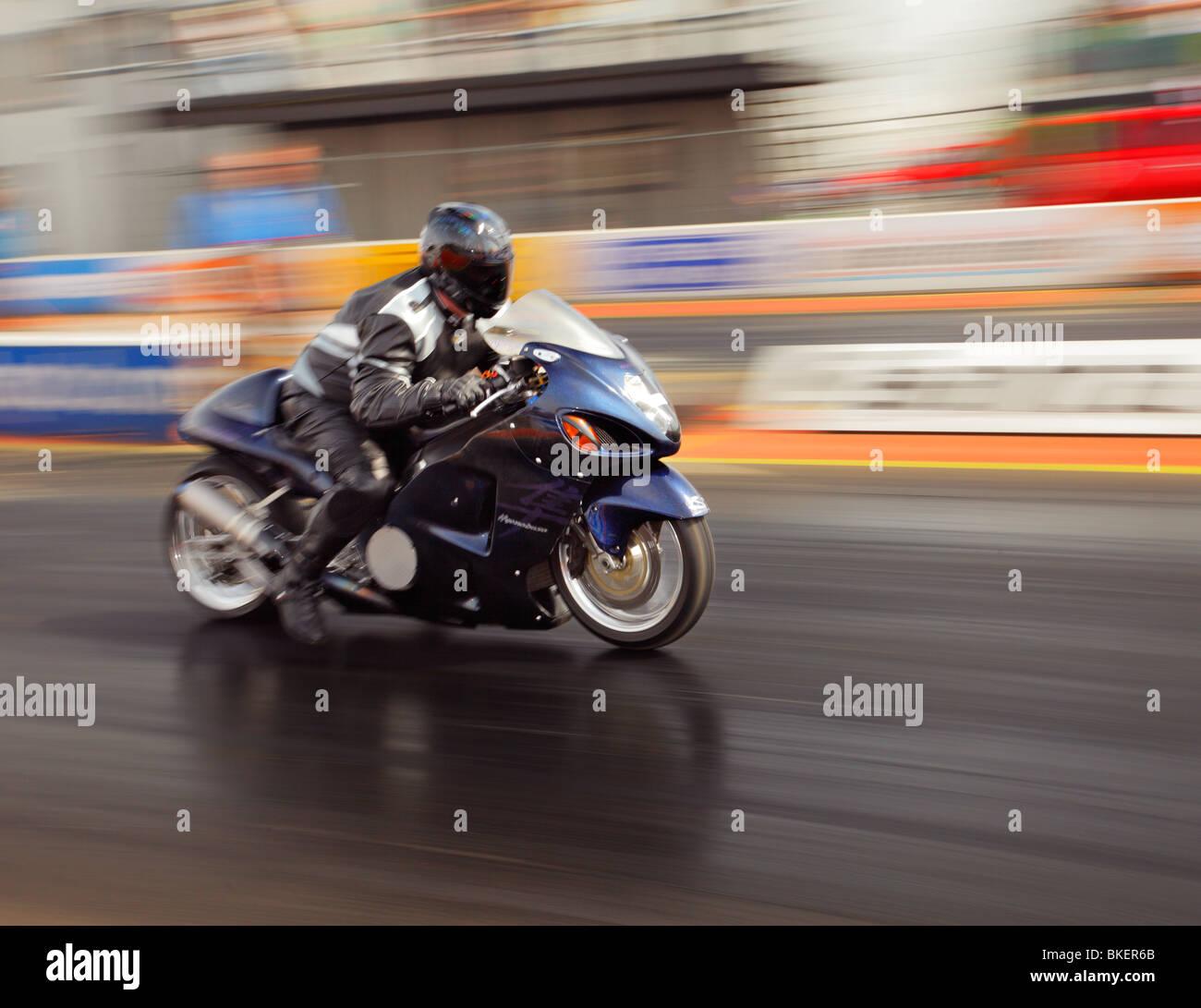 Suzuki Hayabusa Motorcycle in action at Santa pod. Stock Photo