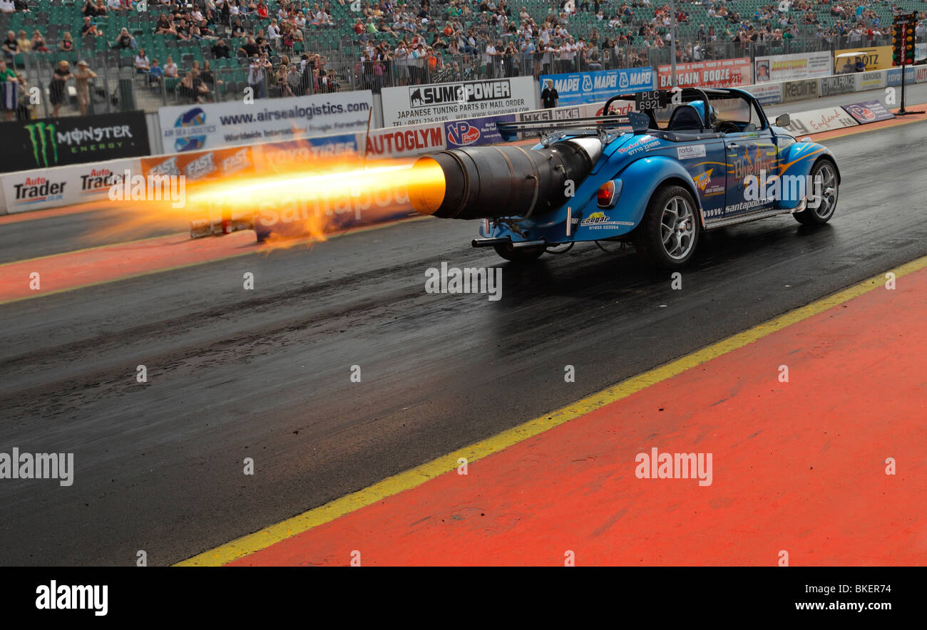 Blue Max jet powered VW beetle, driven by Ronnie Picardo. - Stock Image