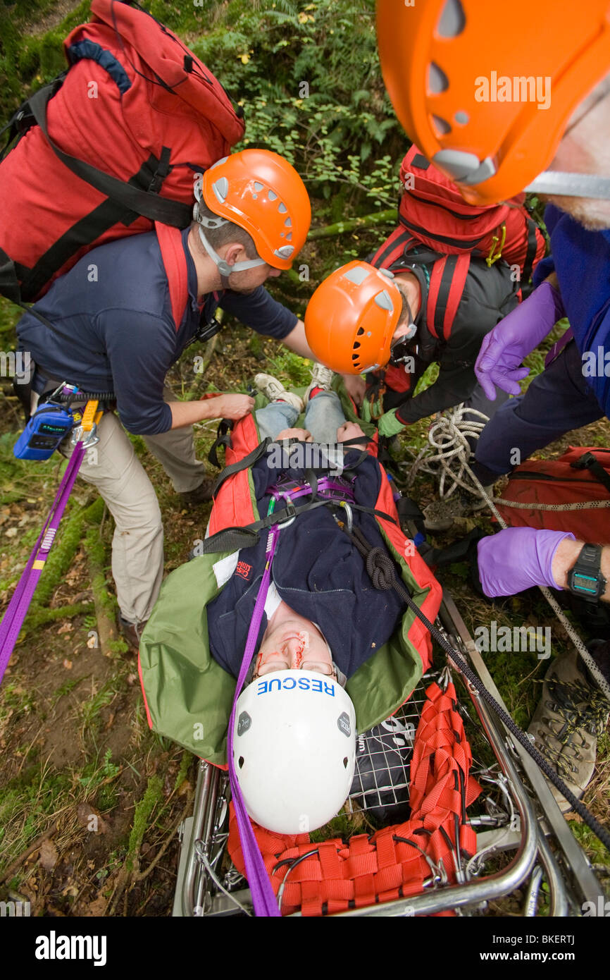 Members of the Langdale Ambleside Mountain Rescue Team treat an injured walker in the Lake District UK - Stock Image