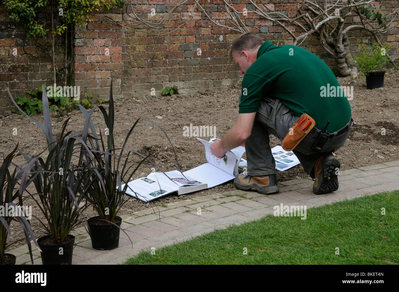 Gardener working in a flower garden planning and making reference to specialist gardening books before planting - Stock Image