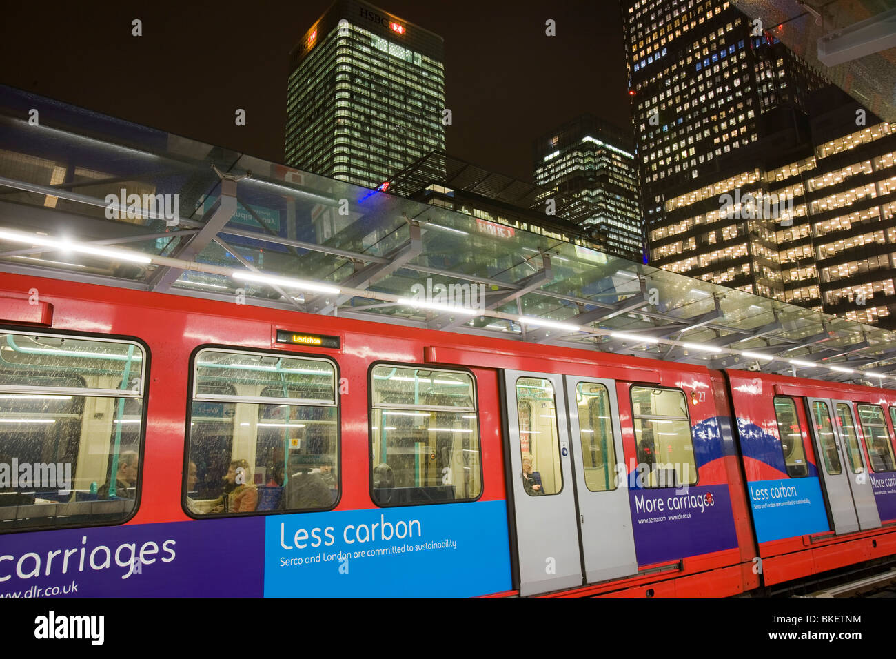 Banking and financial sector buildings at Canary Wharf in London UK from the Docklands Light Railway Stock Photo