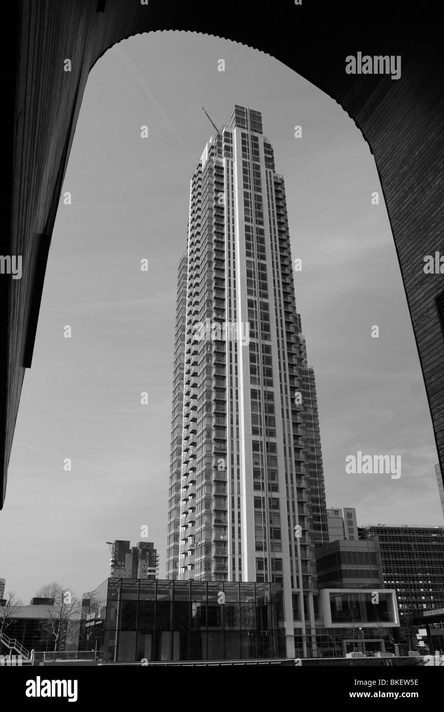 sleek tall flats millwall inner dock canary wharf london docklands england uk gb - Stock Image