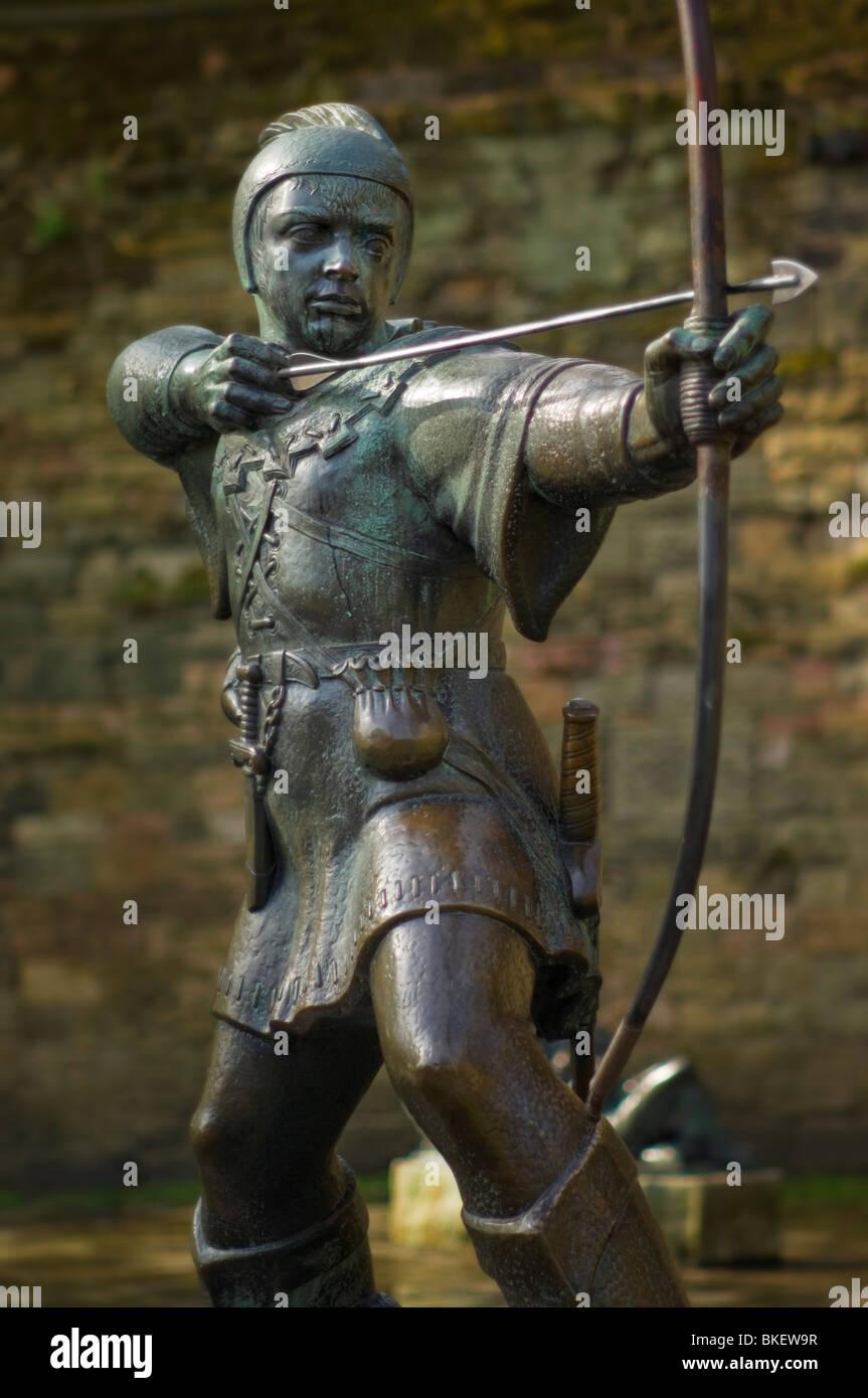 robin hood statue nottingham nottinghamshire england gb uk eu europe - Stock Image
