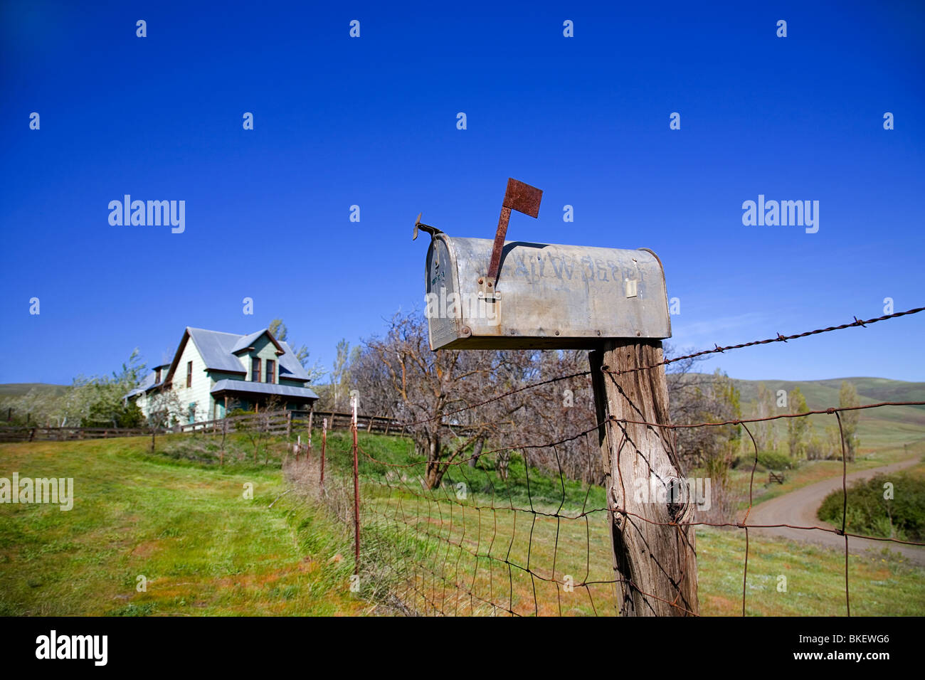 A rural postal mailbox at a remote cattle ranch - Stock Image