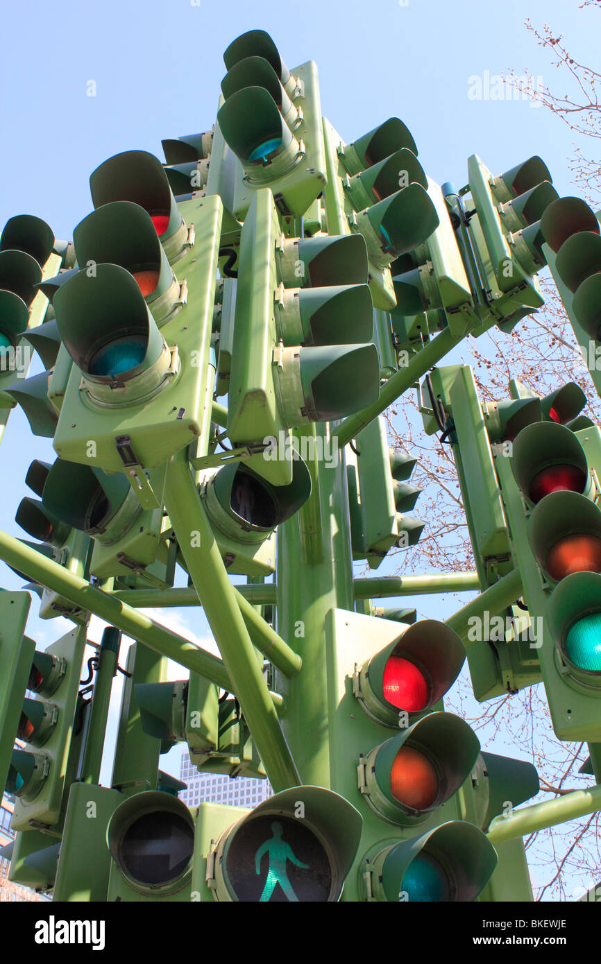 traffic light tree sculpture French sculptor Pierre Vivant london docklands canary wharf england - Stock Image