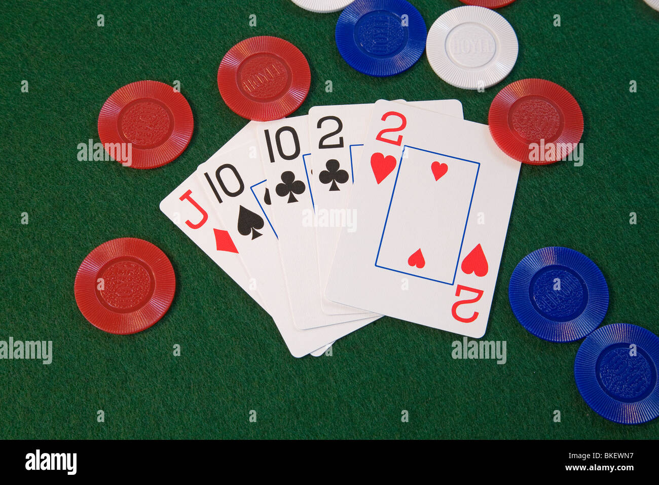 Two Pair Tens And Deuces On Chips A Hand In Five