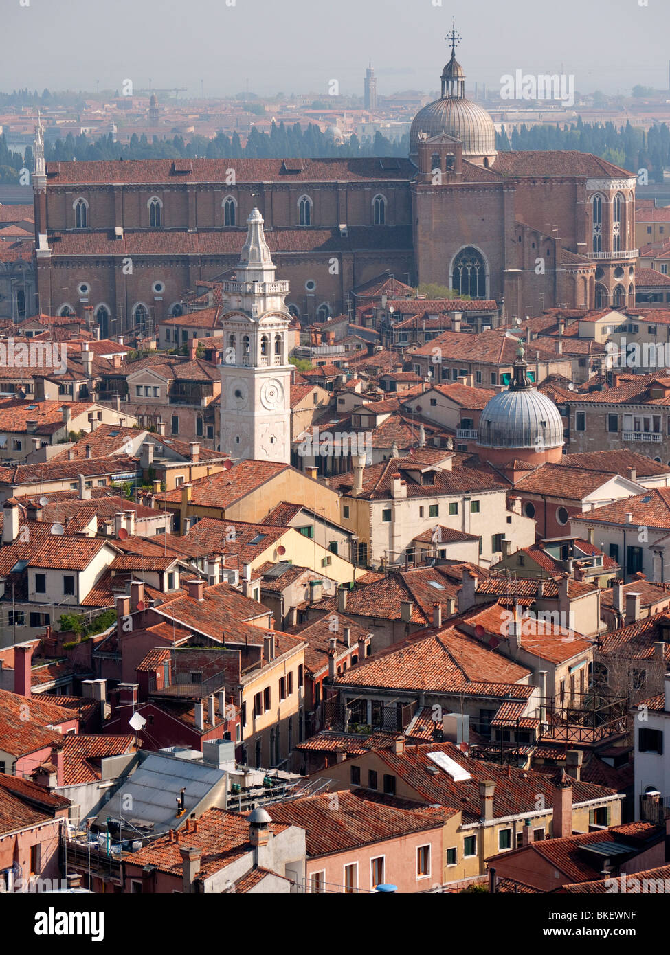 View over historic rooftops of Venice in Italy - Stock Image