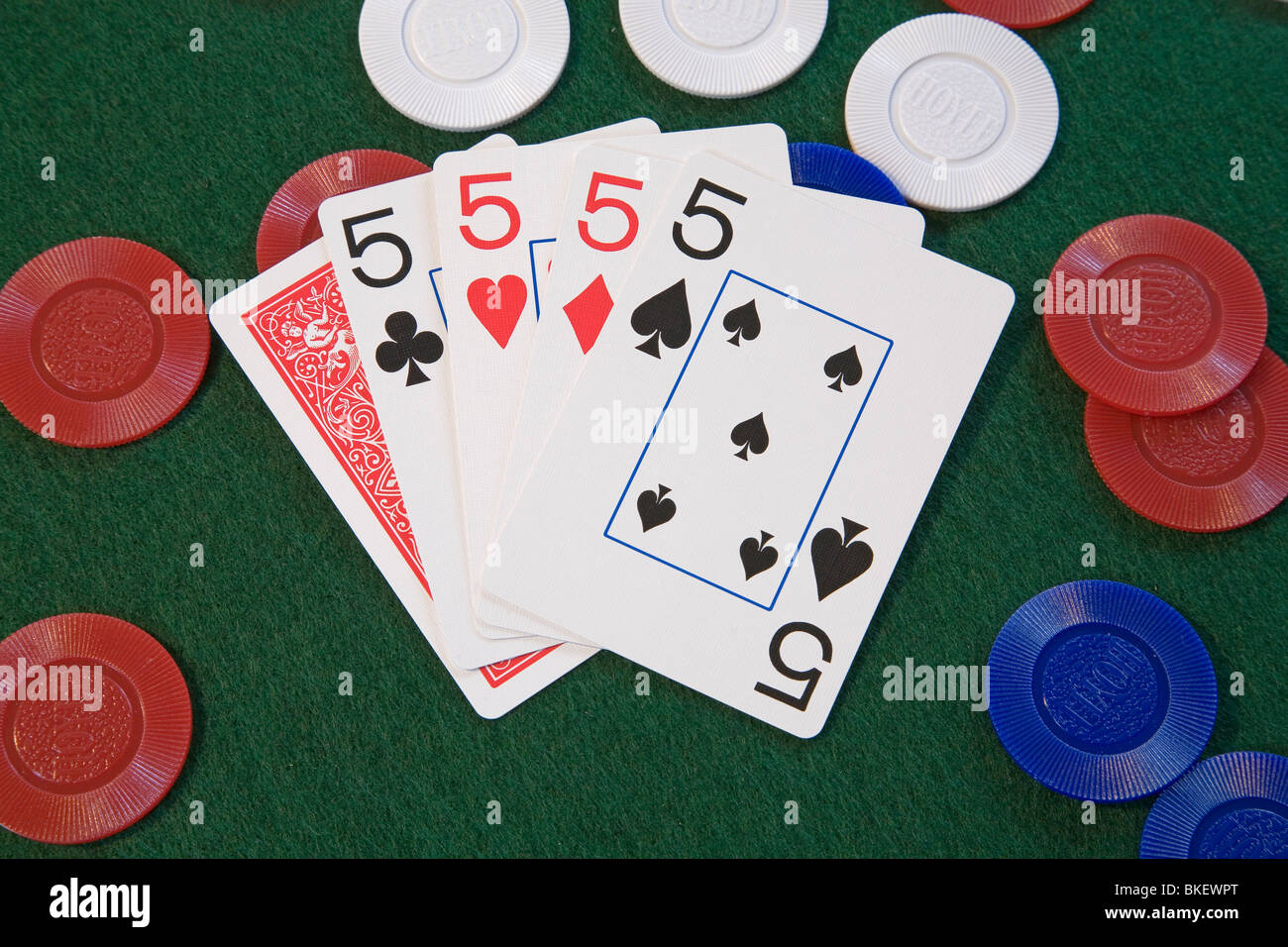 Four Of A Kind On Chips A Hand In Five Card Draw Or Stud