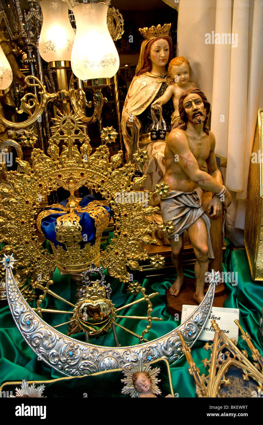 Madrid Spain Spanish catholic religion shop christ - Stock Image