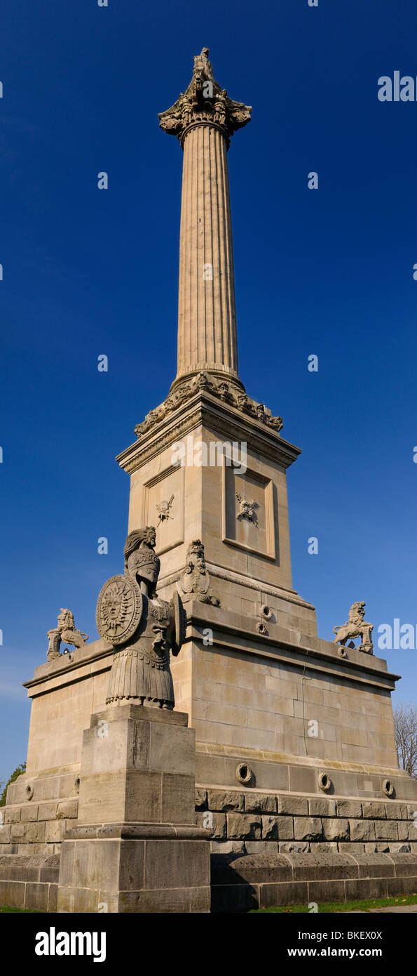 Vertical panorama of Brocks Monument and crypt at Queenston Heights commemorating Canadian independence after a - Stock Image