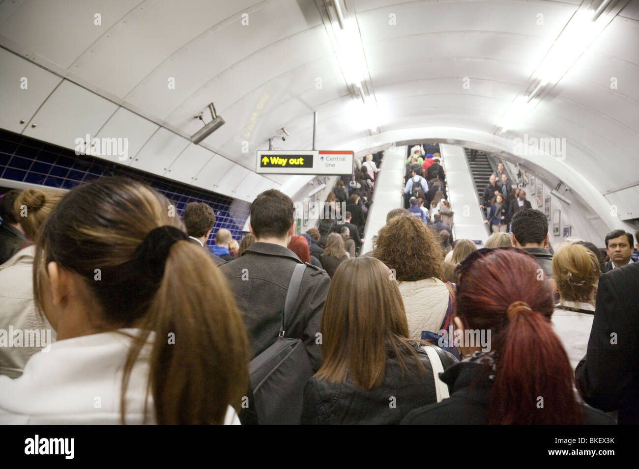 Crowds of commuters in the morning rush hour, The London Underground, London UK - Stock Image