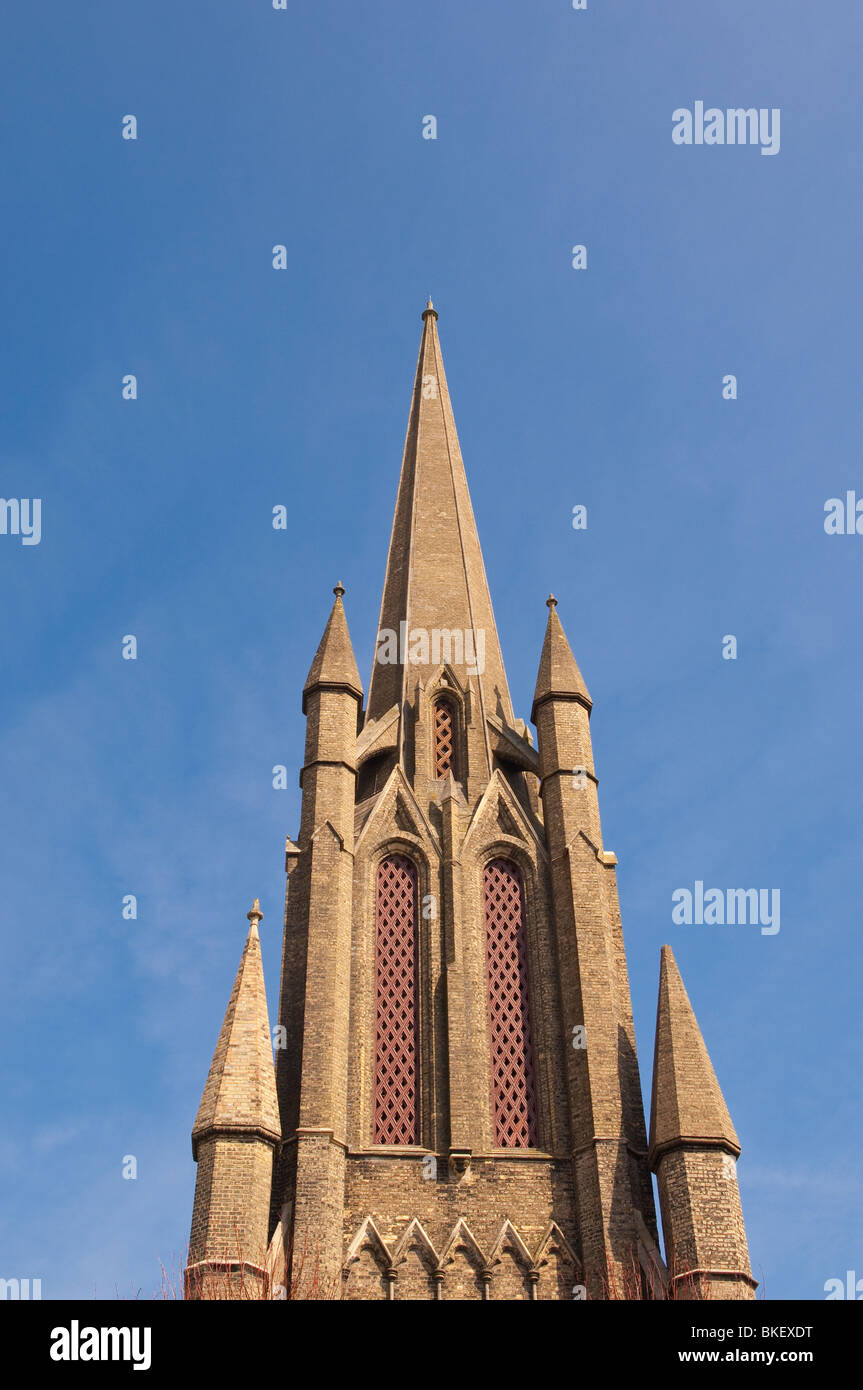 A church steeple tower in Bury Saint Edmunds , Suffolk , England , Great Britain , UK - Stock Image