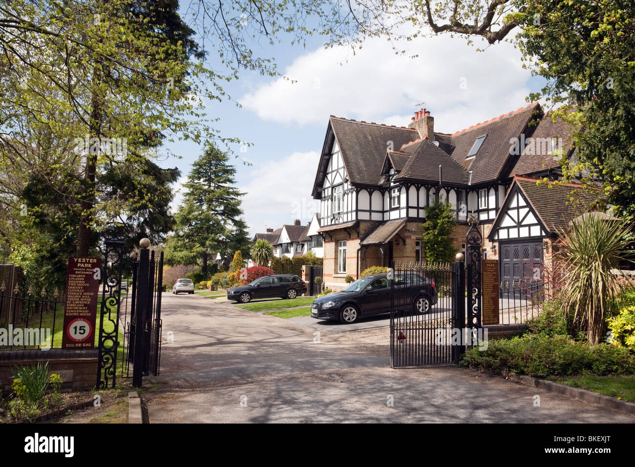 Expensive houses on a private road, Chislehurst, South East London, UK - Stock Image
