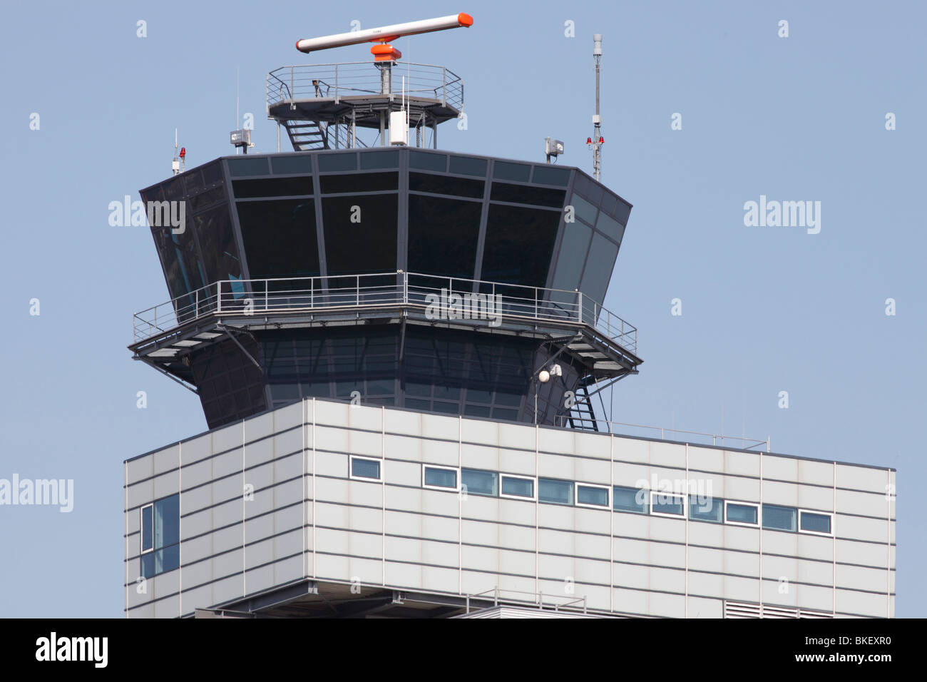 air traffic control tower at the airport Leipzig-Halle, Germany - Stock Image