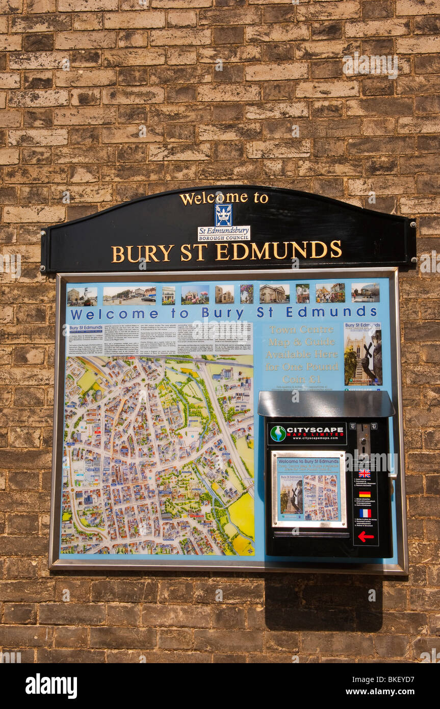 Town centre maps and guides for sale in Bury Saint Edmunds , Suffolk , England , Great Britain , UK - Stock Image