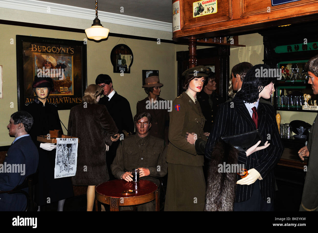 a second world war pub scene at flambards theme park at helston in cornwall, uk - Stock Image