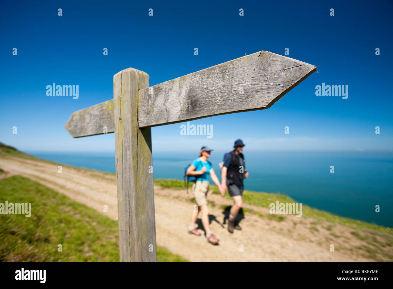 Walkers on the South West Coast Path near Combe Martin in Devon, UK - Stock Image