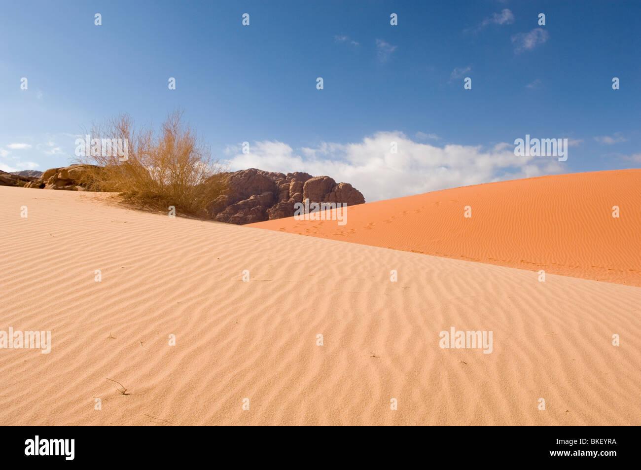 Sanddunes of red and yellow sand in the desert of Wadi Rum, Jordan - Stock Image