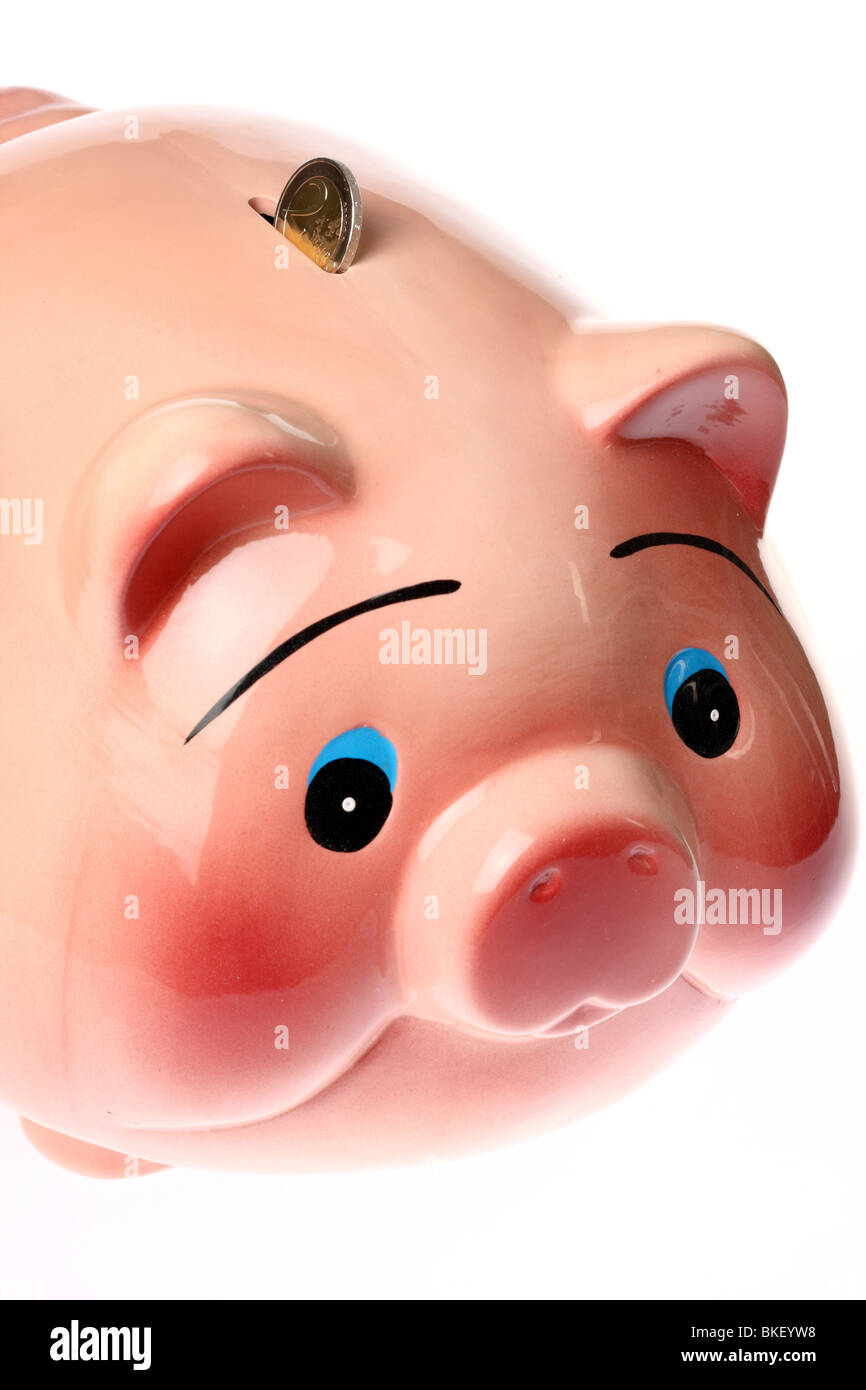 coin bank in form of a pig, ceramic Stock Photo
