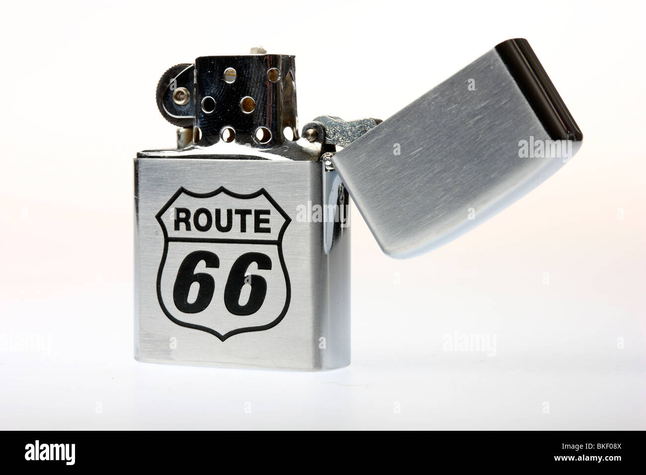 fuel lighter with print, engraving, Route 66, Zippo model - Stock Image