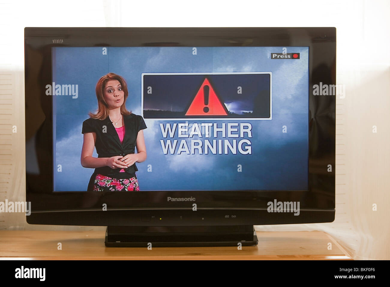 A TV weather forecast, forecasting a heat wave in the UK. - Stock Image