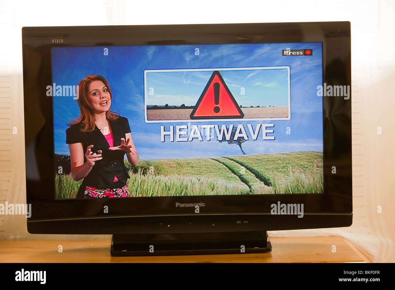 A TV weather forecast, forecasting a heat wave in the UK. Stock Photo