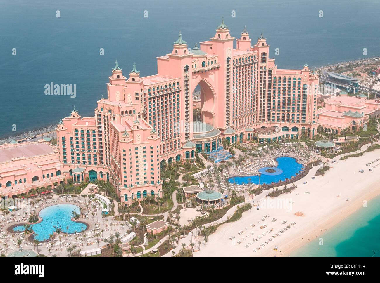 Aerial photograph of the Atlantis Hotel on the Palm in Dubai UAE - Stock Image