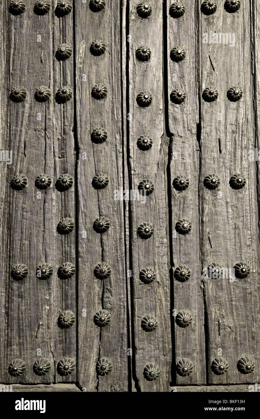Background of old wooden door with metal studs & Background of old wooden door with metal studs Stock Photo: 29218997 ...