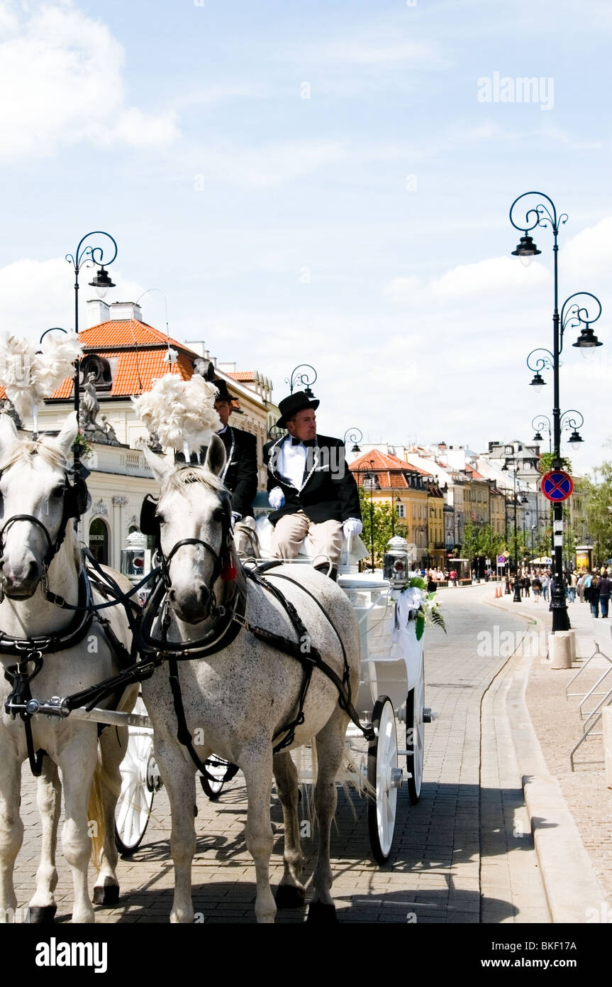 Traditional wedding  transport of 2 grey horses, carriage and two footman at the Royal Track Street, Warsaw, Poland, Stock Photo