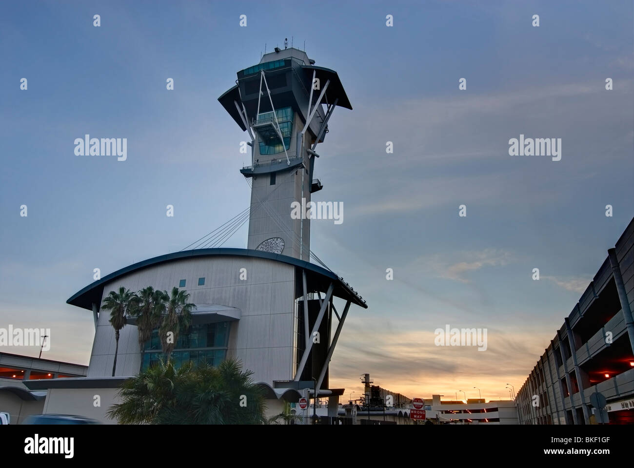Los Angeles International Airport's air traffic control tower designed by architect Kate Diamond. - Stock Image