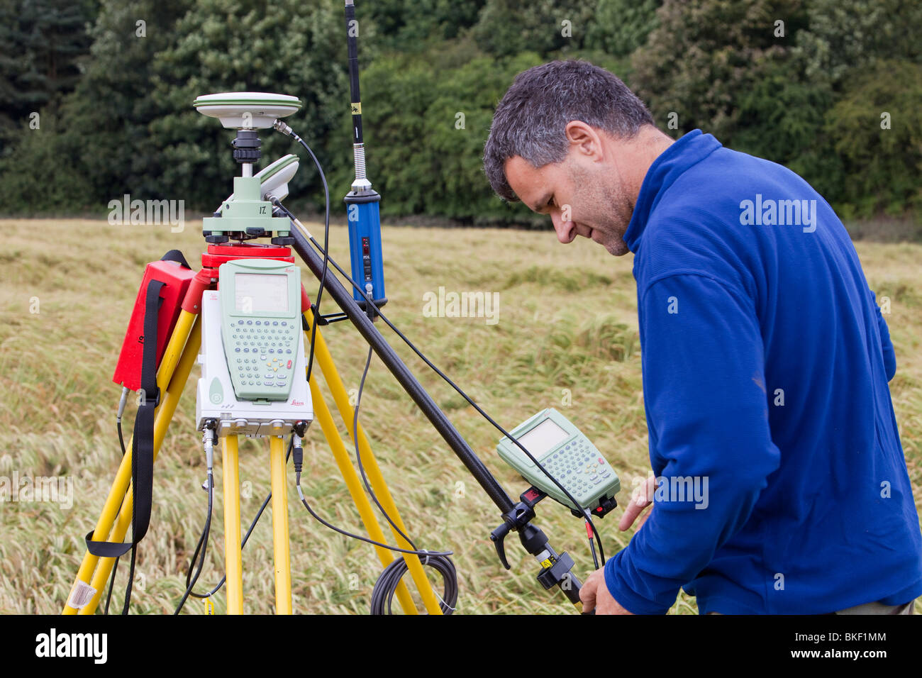 A differential GPS being used in real time kinematic survey, to survey the extent of the Durham canyon flooding - Stock Image