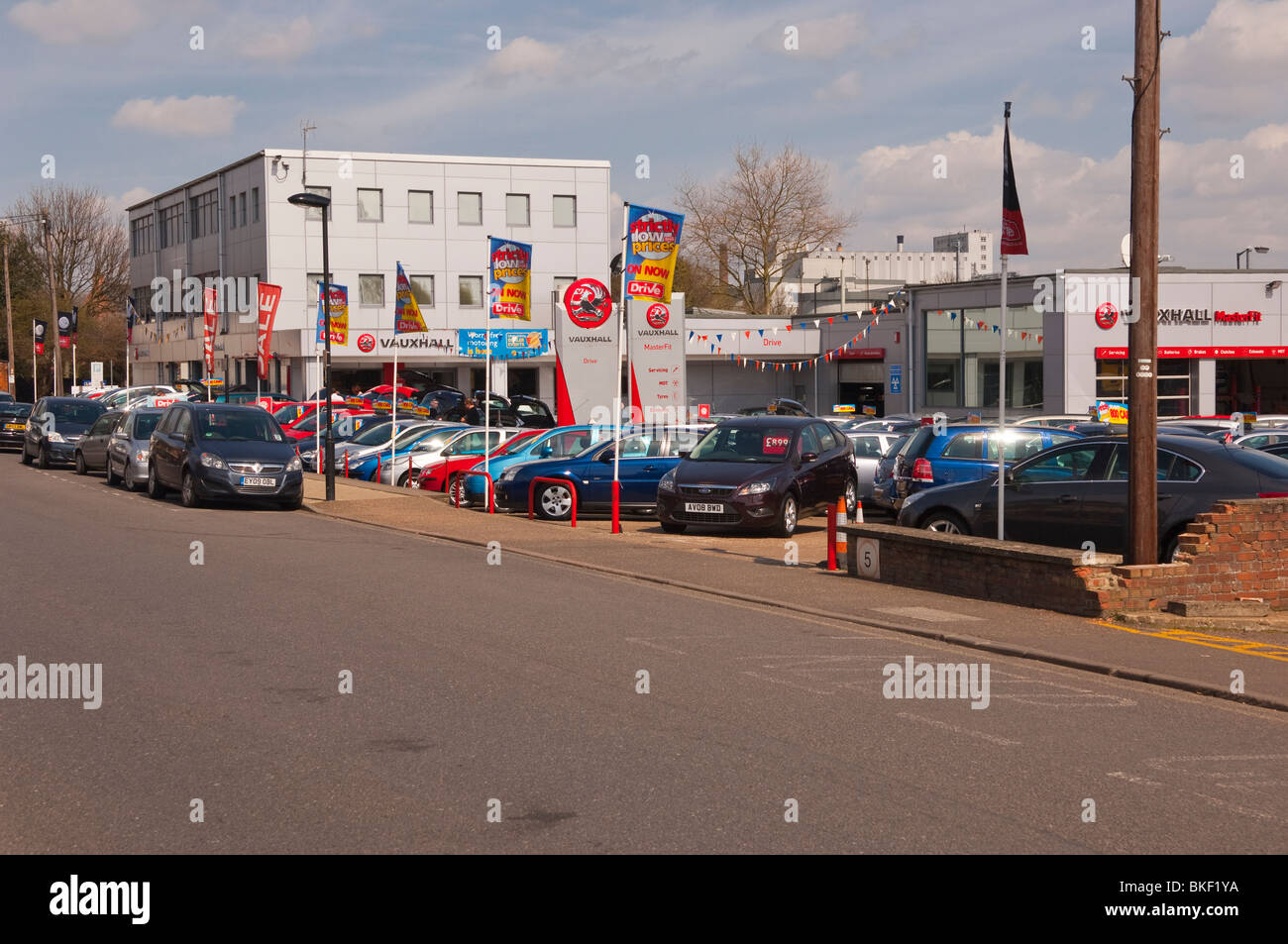 The Drive garage selling used cars in Bury Saint Edmunds , Suffolk , England , Great Britain , UK - Stock Image