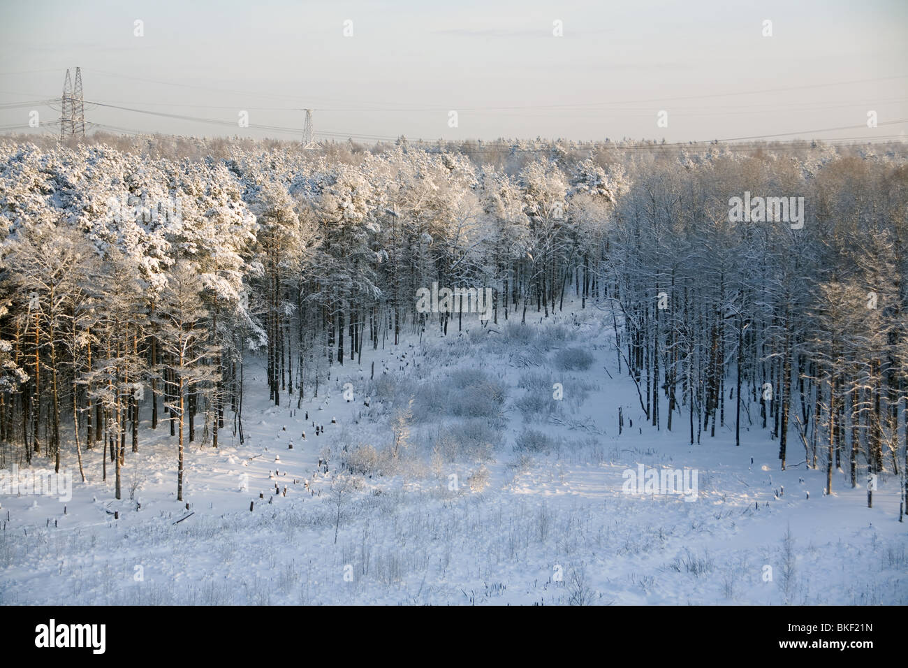 Winter landscape. View from balcony. - Stock Image