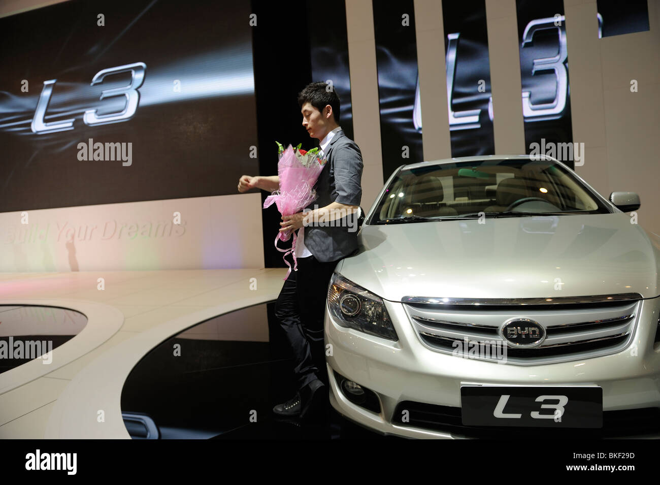BYD L3 sedan at the Beijing Auto Show in Beijing. 24-Apr-2010 - Stock Image